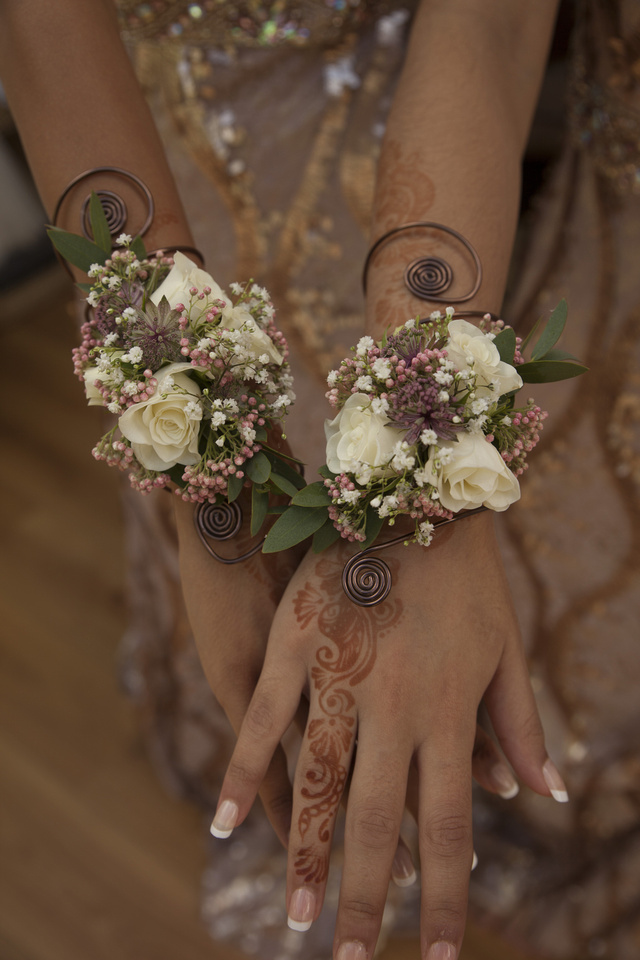 flower arrangement, wrist flowers, wedding photography, henna, muslim wedding